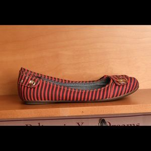 Dr. Scholl's red and blue stripes shoes
